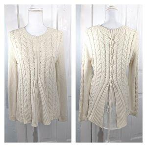CAbi Style# 3157 Lace Up Sweater Ivory Medium